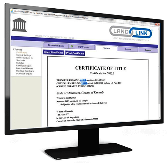 Torrens Certificate Application Screen Shot